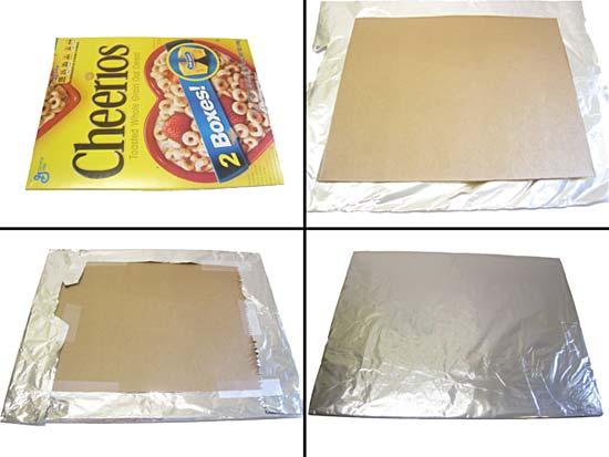 Truco para hacer un reflector de luz con cartón, papel y aluminio