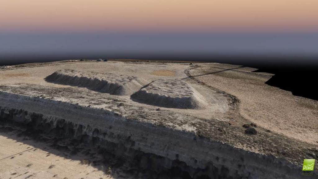 Imagen modelada a través de fotos capturadas con drones y procesada para la creación del mapa en 3 dimensiones de la superficie