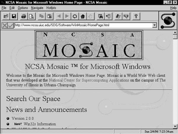 Navegador Mosaic, primer navegador en el que se pudo ver en conjunto el primer diseño y desarrollo web de una página, con imágenes y texto