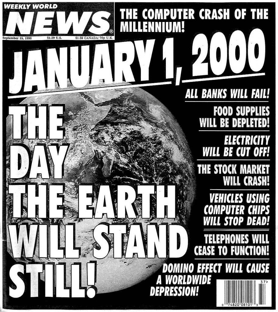 Portada de periódico año 1.999 hablando del efecto 2.000 por el cual la tecnología iba a fallar y acabaría el mundo