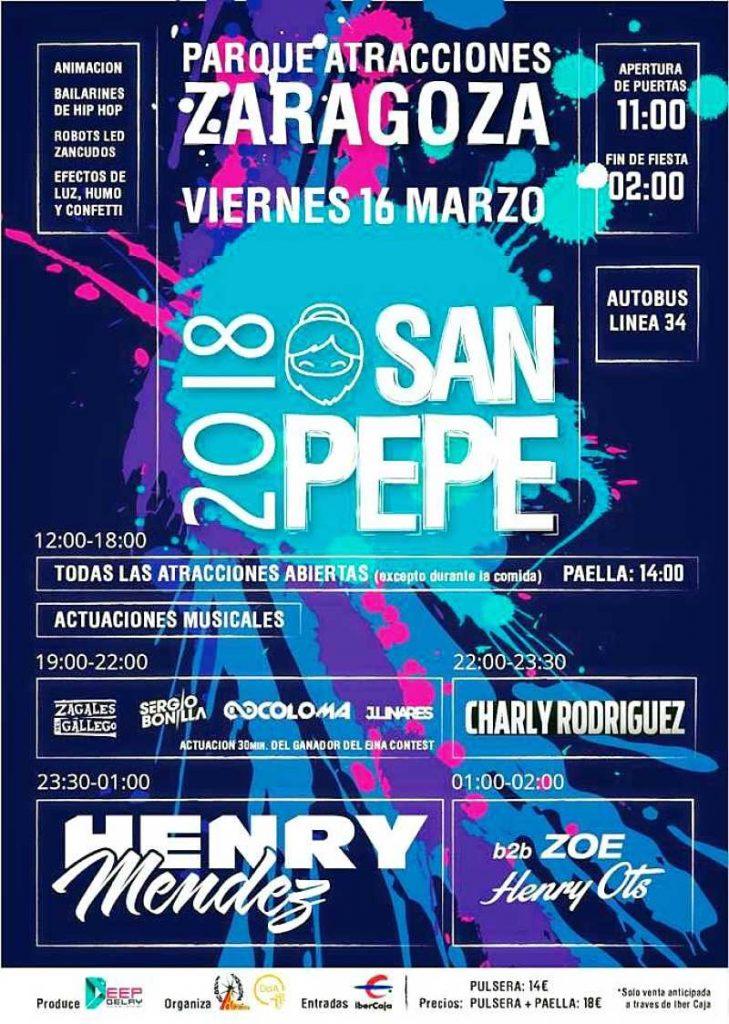 Cartel San Pepe 2018 en Zaragoza donde la diversión con tus amigos con buen ambiente y retos de Hunteet con los que ganar premios online
