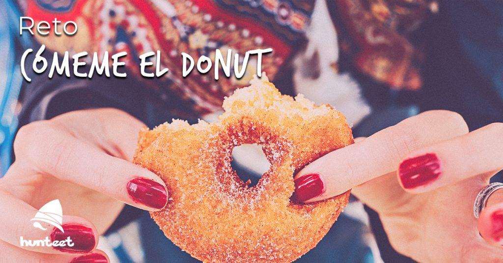 Sube una foto comiéndote un donut a la app Hunteet al reto Cómeme el donut y gana premios