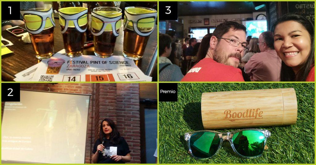 Ganadores del reto de Pint of Science que ganaron unas gafas Boodlife subiendo una foto a la app Hunteet