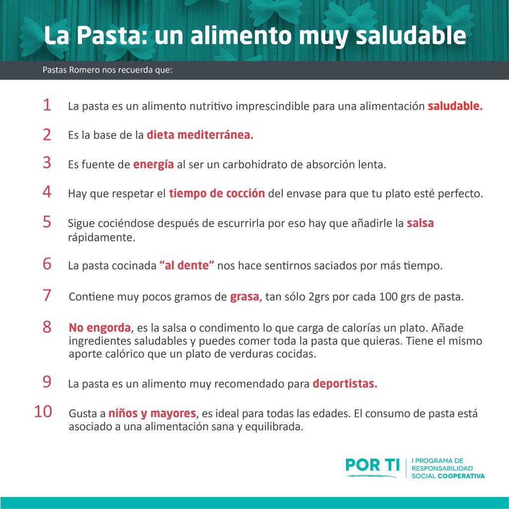 10 datos por los que la pasta es un alimento muy saludable del Programa Por Ti en el que participa Pastas Romero