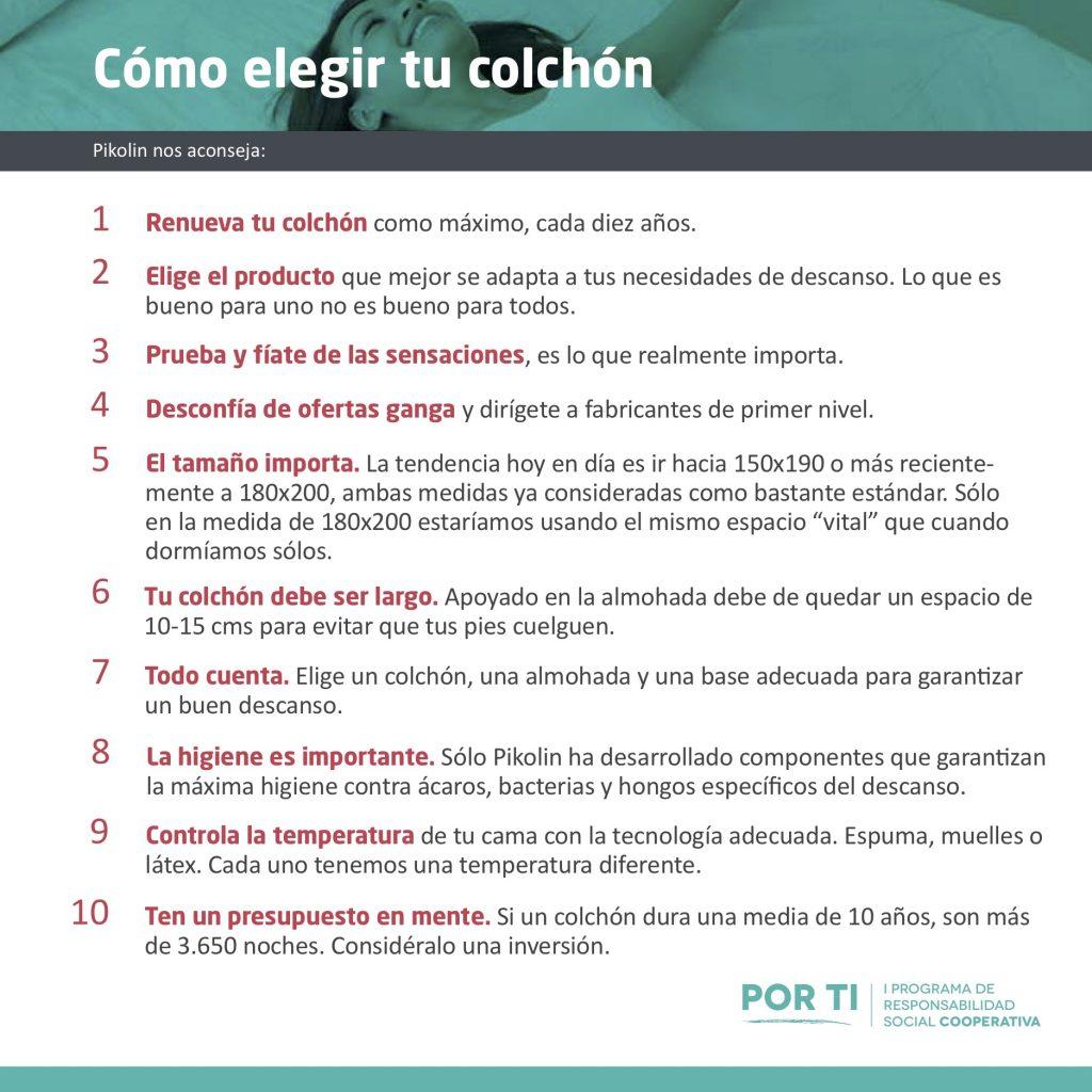 Consejos a la hora de elegir colchón para poder dormir y descansar mejor gracias al programa PorTi y a Pikolin