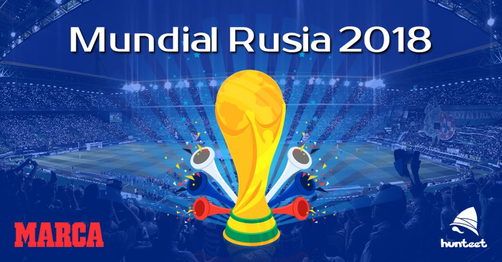 Participa en la liga del Mundial de Rusia en junio 2018 y donde ganar premios como la camiseta de la selección que elijas diviértete participando con Hunteet