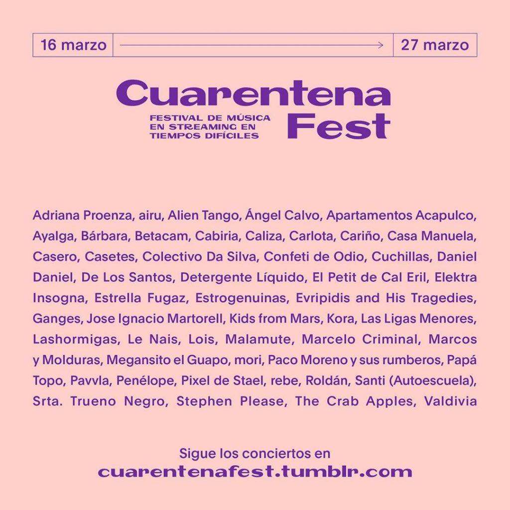 Cartel del Cuarentena Fest, iniciativa de ocio frente al coronavirus